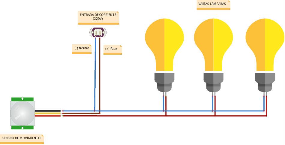 como conectar un sensor de movimiento a varias luces